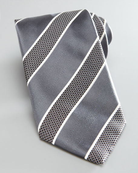 Bold Striped Silk Tie, Gray