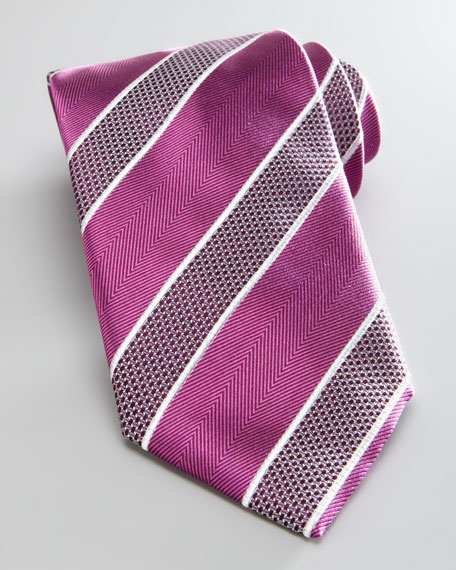 Bold Striped Silk Tie, Berry