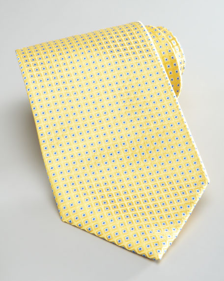 Neat Dot-Print Silk Tie, Yellow/Blue