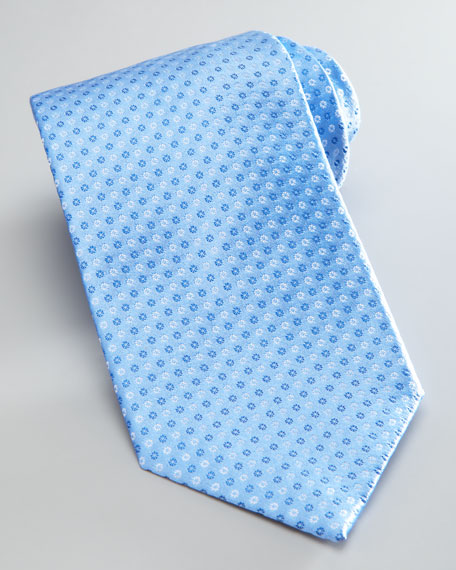 Neat Circle Silk Tie, Light Blue
