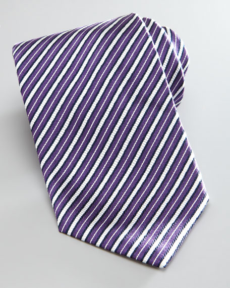 Striped Silk Tie, Purple/White