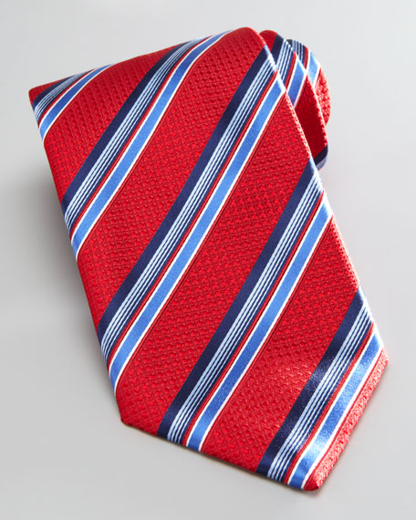 Bold Striped Silk Tie, Red/Blue