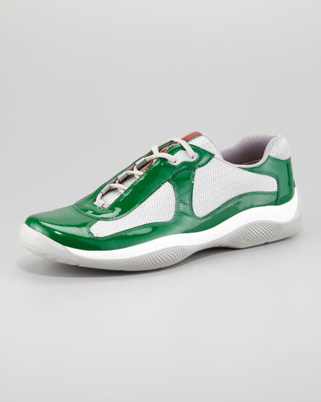 Americas Cup Patent Sneaker, Green/Silver