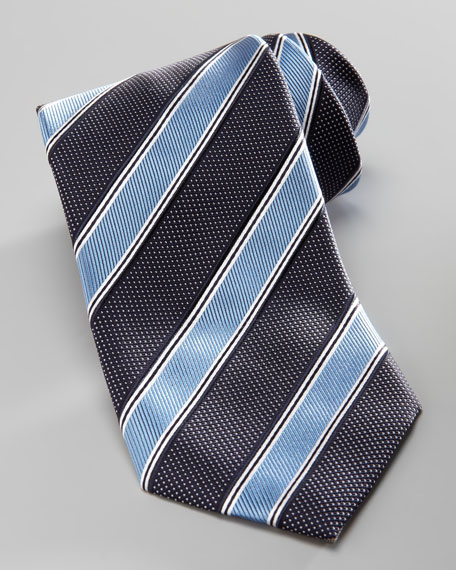Striped Silk Tie, Light Blue