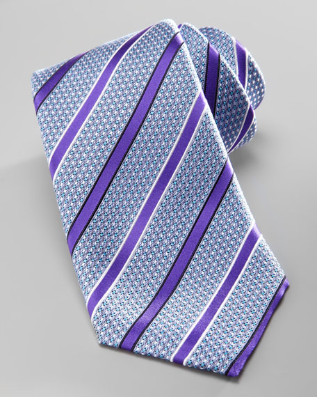 Striped Silk Tie, Purple