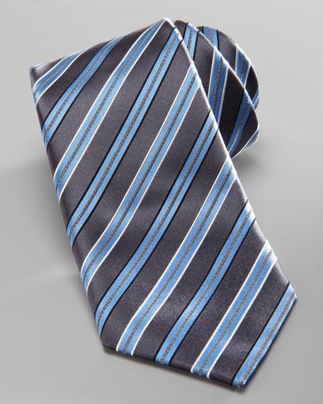 Striped Silk Tie, Gray/Blue