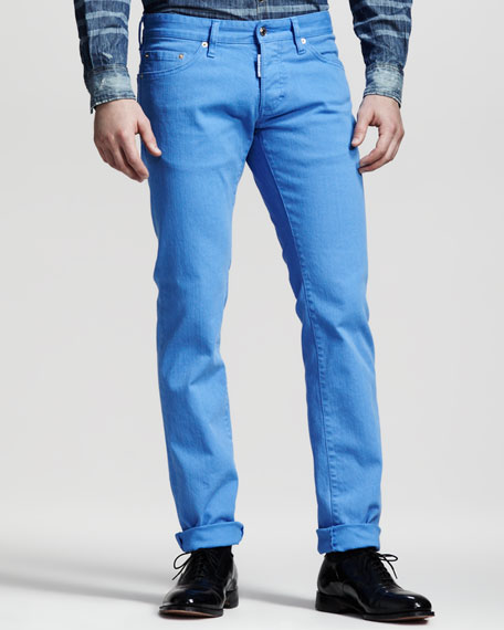 Garment-Dyed Five-Pocket Pants, Light Blue