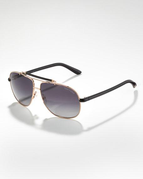 Adrian Polarized Aviator Sunglasses, Rose Golden