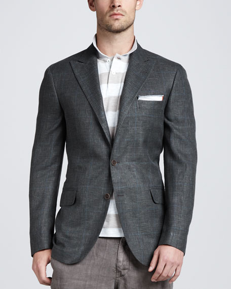 Glen Plaid Linen-Blend Blazer