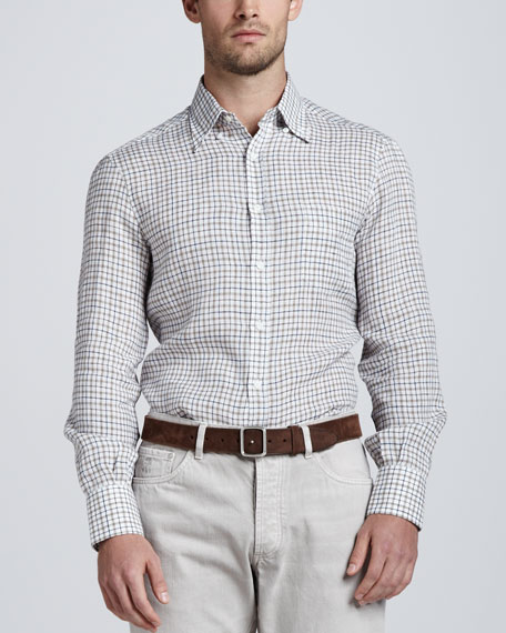 Plaid Button-Down Sport Shirt