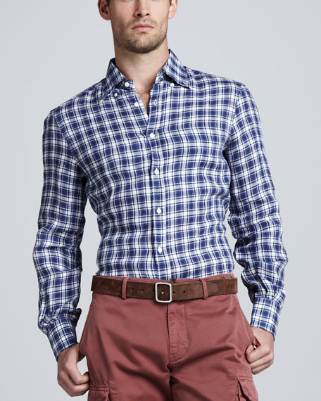 Plaid Linen Sport Shirt, Blue