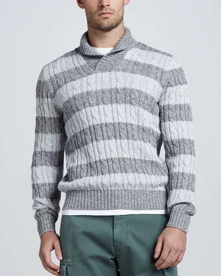 Rugby-Stripe Shawl Cable Sweater, Gray