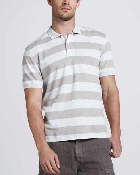 Rugby-Stripe Polo, Oatmeal/Gray