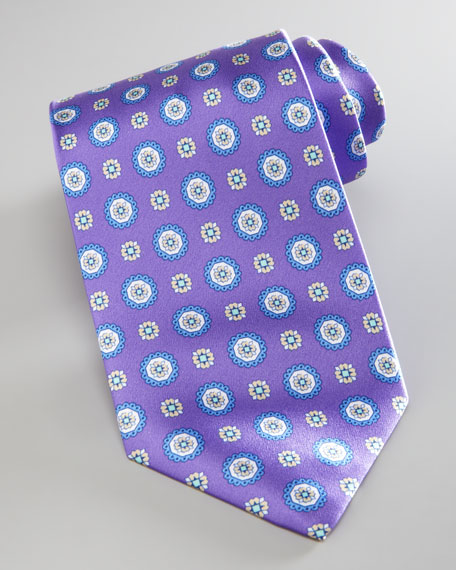 Medallion-Print Silk, Purple