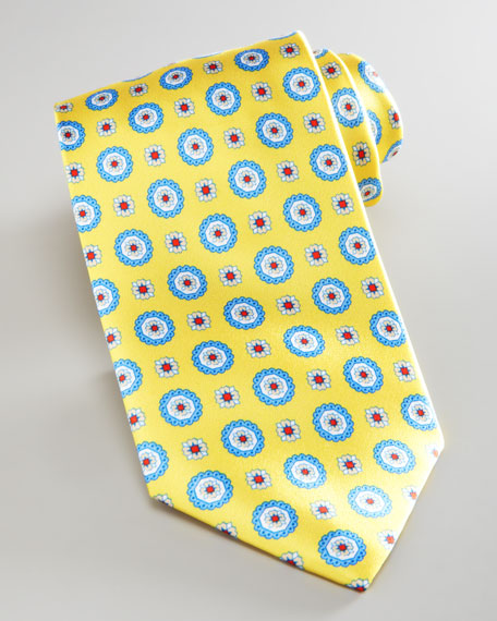 Medallion-Print Silk Tie, Yellow