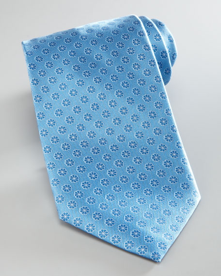 Floral Neat Silk Tie, Light Blue