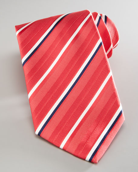 Striped Silk Tie, Coral