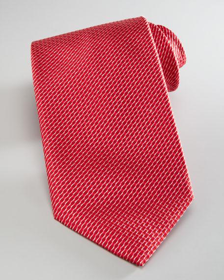 Basket-Weave Silk Tie, Red