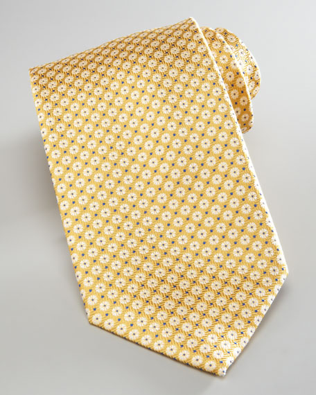 Mini-Flowers Silk Tie, Yellow