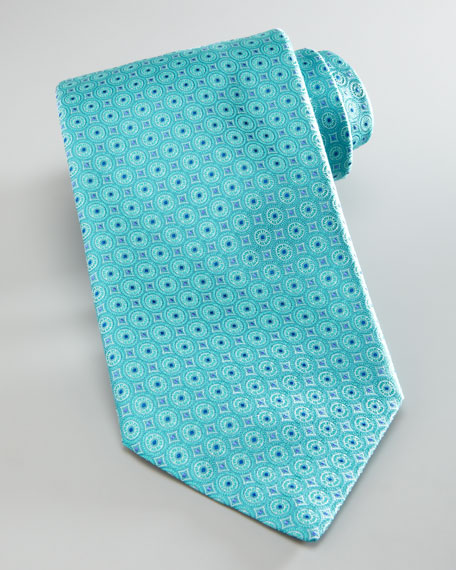 Circles Silk Tie, Aqua