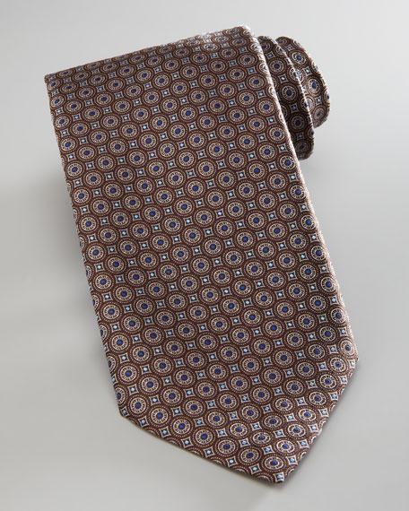 Circles Silk Tie, Brown