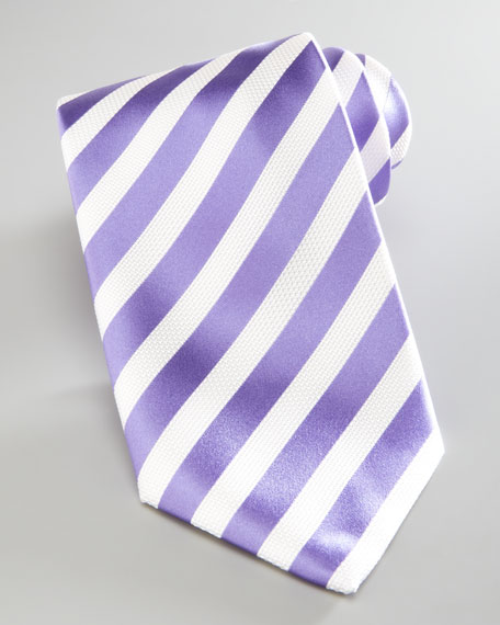 Nautical-Stripe Silk Tie, Lavender