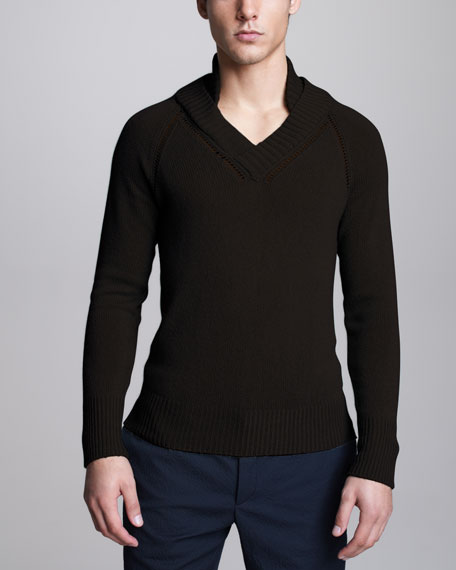 Cashmere Raglan Sweater, Black