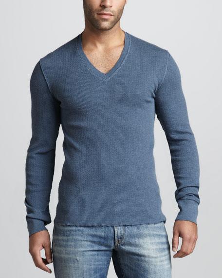 Raw-Edge V-Neck Sweater