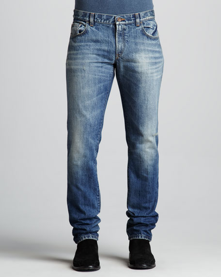 Distressed Medium-Wash Jeans