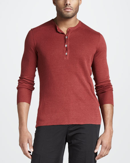 Linen Henley Sweater, Red
