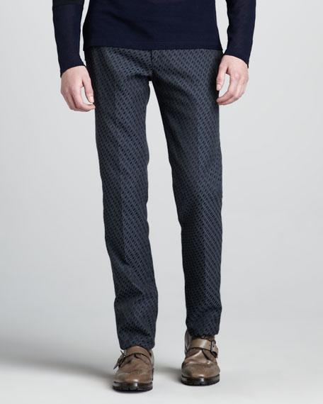 Ikat-Print Slim Trousers