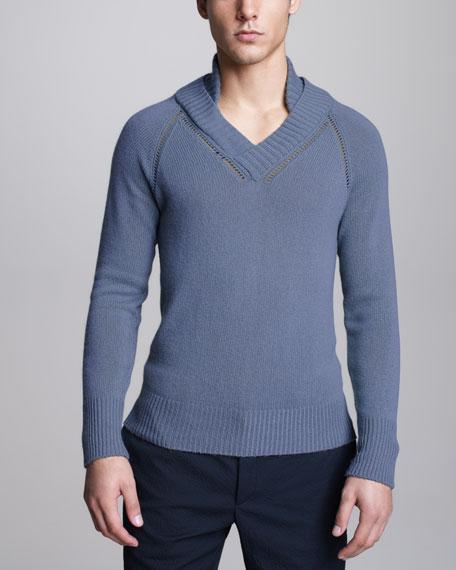 Cashmere Raglan Sweater, Pale Celadon
