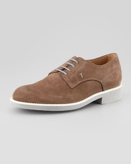 Suede Derby with White Sole