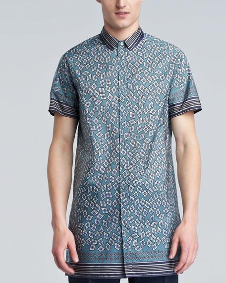 Diamond-Print Tunic Shirt