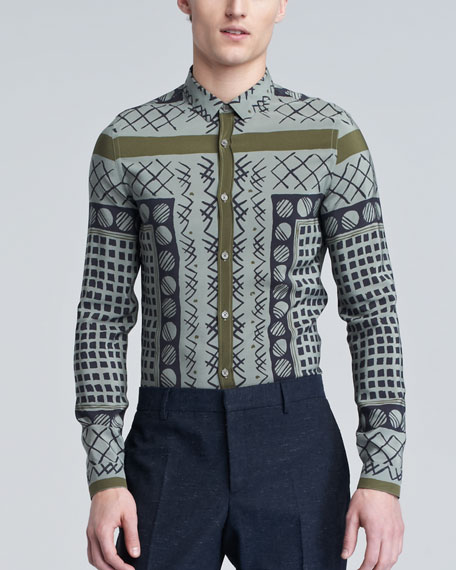 Printed Sport Shirt, Pale Celadon Gray
