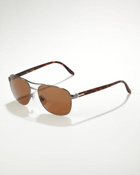 Metal Navigator Sunglasses, Dark Ruthenium