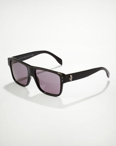 Square Skull Frame Sunglasses, Black