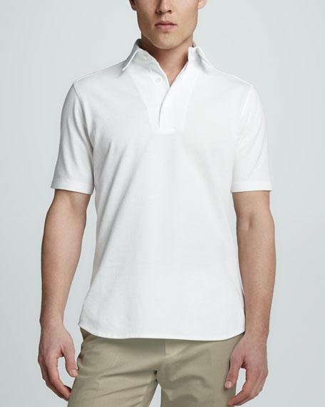 Pique-Knit Polo, White