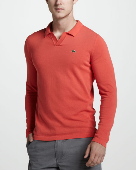 Long-Sleeve Polo, Guava Orange