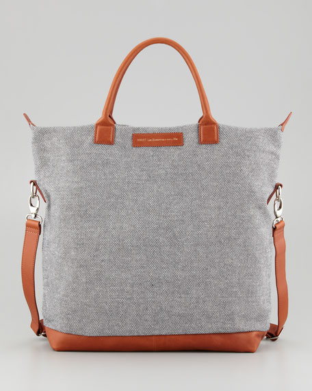 O'Hare Men's Canvas Tote Bag, Check/Cognac
