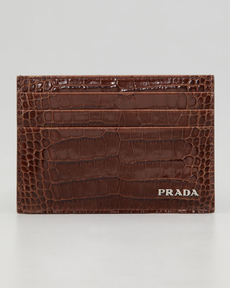 Crocodile-Embossed Credit Card Case, Brown