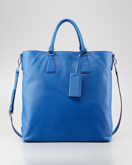 Saffiano Large North-South Tote, Cobalt
