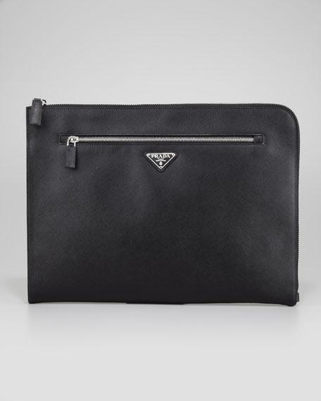 Saffiano Zip-Top Portfolio, Black