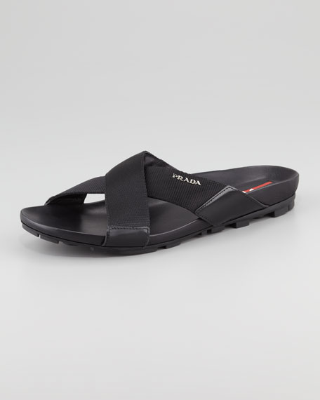 Nylon Crisscross Slip-On Sandal, Black
