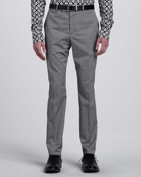 Basketweave-Print Pants