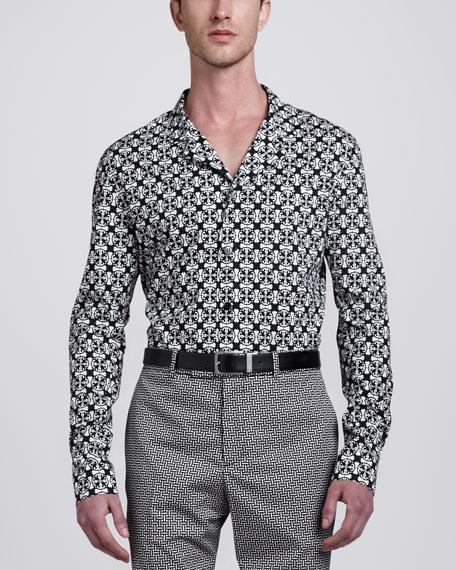Tile-Print Long-Sleeve Shirt
