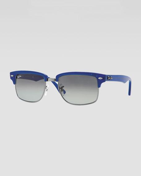 Squared Clubmaster Sunglasses, Blue
