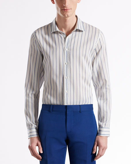 Jacquard-Stripe Skinny Formal Shirt