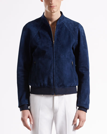 Unlined Suede Bomber Jacket
