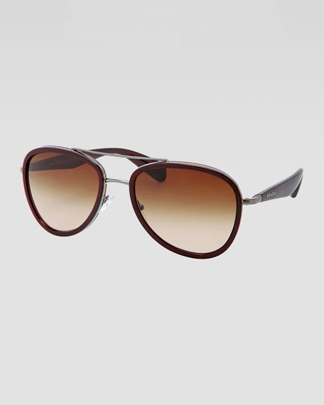 Metal Pilot Sunglasses, Brown